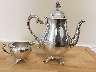 F.B. Rogers Silver Co Teapot And Creamer Used Silver Plated Antique Vintage