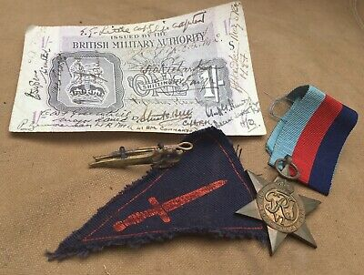 Rare ww2 original British commando collection, badge, patch signed note , medal