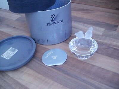 Swarovski Crystal Bird Bath 7460 108 000 Mint Con Box & Certificate Retired Rare
