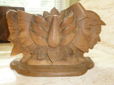 Vintage Carved Wooden Men Faces Flower Hawaiian Asian Decorative Sculpture