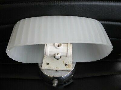 Vintage Art Deco Milk Glass RIBBED Bathroom Light Sconce with METAL FIXTURE  VGC