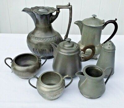 7 Pieces Of Pewter Ware, Different Makers All English.