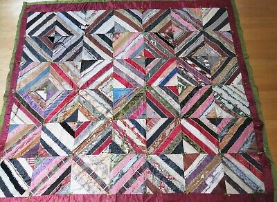 Funky old as is 1900s ish shabby chic colorful 78 x 69 victorian cabin quilt