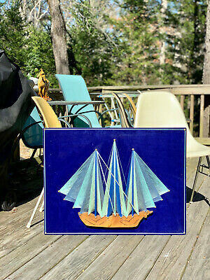 VTG 1970s MID Century Modern String Art Sailboat Boat Blue Velvet Wall Hanging