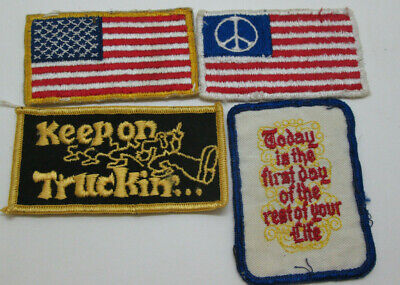 LOT 4 VINTAGE PATCH 60's 70's Keep on Truckin US Peace Flag Today is First Day