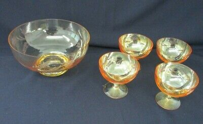 Dessert Bowls Etched Amber Glass, with Stems, 1 Large Serving Bowl and 4 small