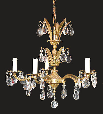 Vtg Antique Solid Brass Spanish Chandelier 5 Light Crystal Prism Made In Spain