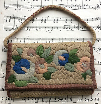 ANTIQUE VINTAGE ART DECO 1920s BEAUTIFUL FLORAL HAND EMBROIDERED SMALL BAG PURSE