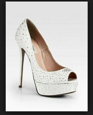 Valentino Bridal Crystalcoated Satin Platform Pumps Size 39