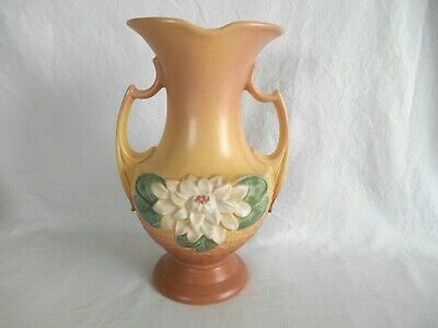 """Large HULL ART POTTERY WATER LILY 2 HANDLE VASE  L-15 - 12 1/2"""""""
