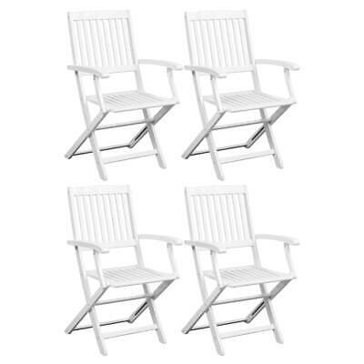 vidaXL 4x Solid Acacia Wood Dining Chairs White Kitchen Dinner Folding Seat