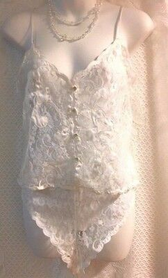 SEXY,VENTURA LACE WHITE 2PC.CAMI AND PANTY SET,BABYDOLL BUTTON FRONT-Medium-#62