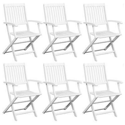 vidaXL 6x Solid Acacia Wood Dining Chairs White Kitchen Dinner Folding Seat