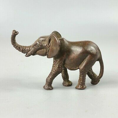 Collectible Chinese Old Antique Solid Copper Pure Manual Elephant Tea Pet Statue