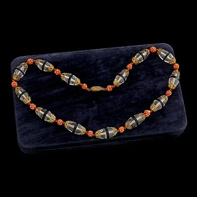 Antique Vintage Deco Gold Wash Chinese Crystal Glass Salmon Coral Onyx Necklace