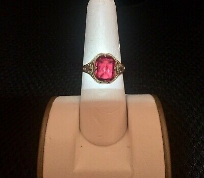 Vintage Antique Art Deco 1910 Clark And Coombs 1/30 14K RGP Gold Ring
