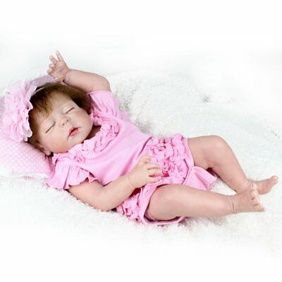 "22"" Reborn Baby Girl Dolls Realistic Full Body Soft Vinyl 100% Silicone Gifts"