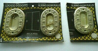 VTG American Tack Hardware Recessed Door Handles Pocket Sliding Door Ornate NOS