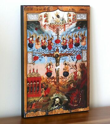 """BIG RARE RUSSIAN ORTHODOX ICON – FRUIT OF CHRIST""""S PASSION.Early XIX cent.WOOD ."""