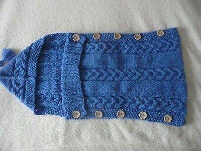 knitted baby bag / cocoon blue Aran yarn own design perfect baby boy ideal gift