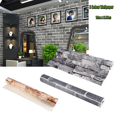 3D Retro Wallpaper Mural Roll Realistic Stone Brick Wall Background Textured