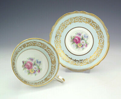 Vintage Paragon China - Flower Decorated Gilded Cabinet Cup & Saucer