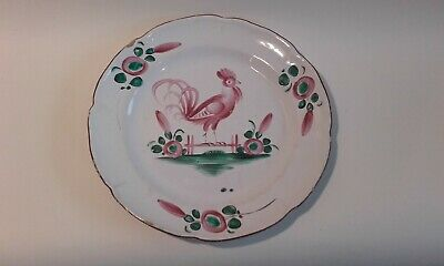 Antique 18th century French Tin glazed plate with Cockerel.