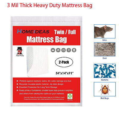 Mattress Bag Cover 2-Pack Twin/Full Size 2Mil Heavy Duty Moving and Storage