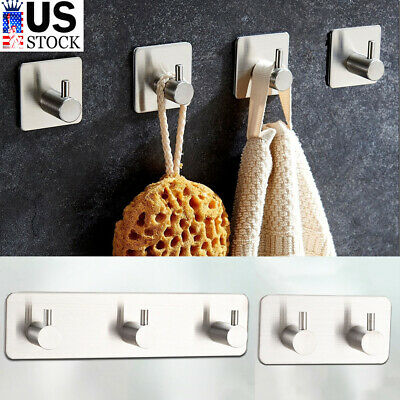 1/2/3Hook Wall Hanger Stainless Steel Kitchen Bathroom Clothes Holder Rack Hooks