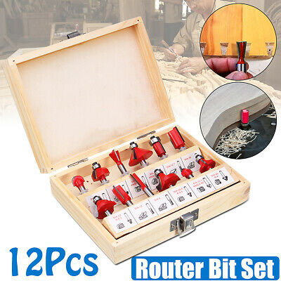 12x Router Bit kit 1/4'' Shank Tungsten Carbide Tip Router Bits Woodworking Tool