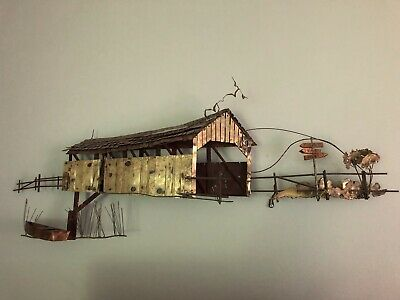 VINTAGE SIGNED C. JERE COVERED BRIDGE Mixed Metals WALL SCULPTURE Good Condition