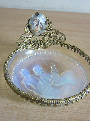 Vintage French Opalescent crystal bronzed rim Jewelry Vanity Pin Dish, courting