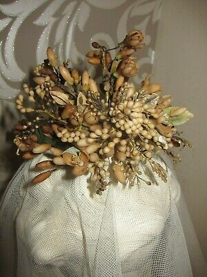 c.1890 Antique French Waxed Blossom Wedding Couronne