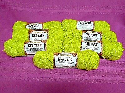 7- Skeins Rug Crafters 100% Polyester Rug Yarn #25-111 Chartreuse New