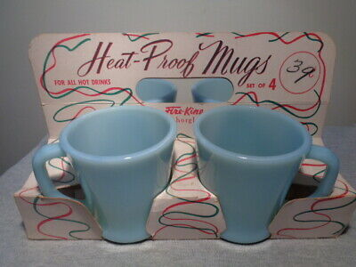 4 Anchor Hocking Fire King Turquoise Blue Coffee Mugs In Original Carrier/ Box