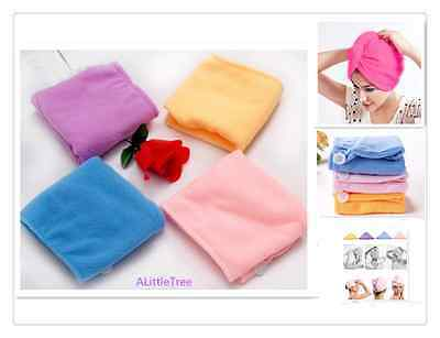 3(HotPink/Blue/Pink) Large Microfibre Hair Wrap Towel Hat Turban Drying Cap Bath