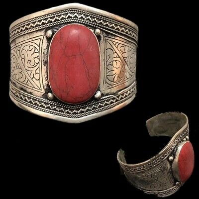 Ancient Silver Decorative Gandhara Bedouin Torc With Red Stone 300 B.C. (2)