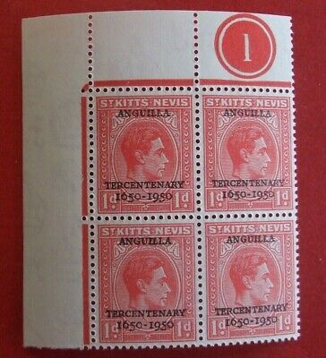 ST.KITTS & NEVIS STAMPS 1950 TERCENTENARY O/PRNT ANGUILLA IN BLOCKS of 4 - MNH