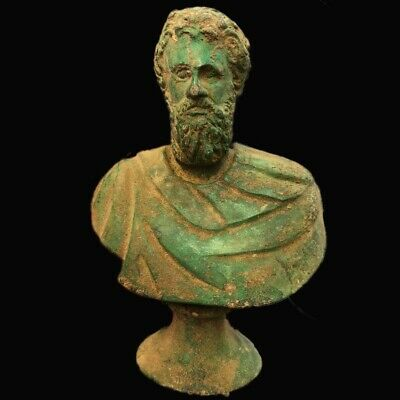 ROMAN ANCIENT BRONZE BUST STATUE- 200-400 AD (6) LARGE 16 Cm Tall !!!!!