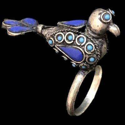 Ancient Silver Decorative Gandhara Bedouin Bird Ring With Mixed Stone 300 B.C