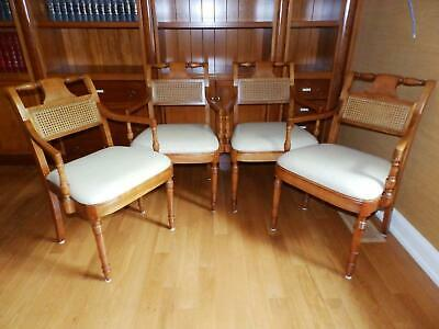 Vintage Gustav Stickley Leather Seat Arm Chairs, Caned Backs - Set of 4