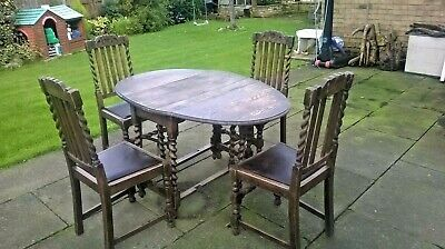 """""L@@K"""" Antique Solid Wood Barley Twist Gateleg Table & 4 Chairs *All Original*"