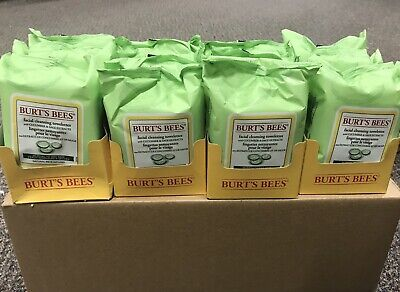 12 Packs-BURTS BEES Normal-Dry Skin Disposable Wipes 30ct (cucumber & Sage)