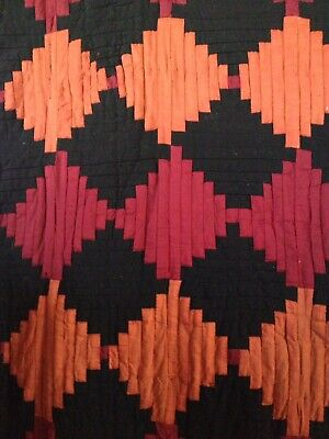 Amish LogCabin Courthouse Steps Antique Quilt Late 1800's