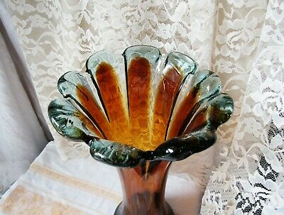 Vintage beautiful Handcrafted Hand blown Murano style glass Trumpet Vase 11-1/2""