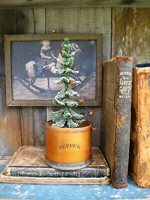 Early Antique Wood and Tin Spice Box w Primitive Christmas Tree Free Shipping