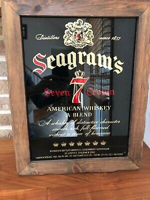 Vintage Seagrams 7 Crown Whiskey Bar Mirror Sign Wood Frame Wall Decor