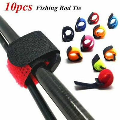 10X Reusable Fishing Rod Tie Holder Strap Set Fastener Ties Fishing Accessories