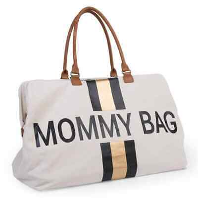 CHILDHOME Diaper Bag Off-White and Gold Canvas Mommy Nappy Changing Handbag