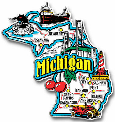MICHIGAN Jumbo State Map Fridge Magnet NEW Rare Special Magnets Decals Stickers